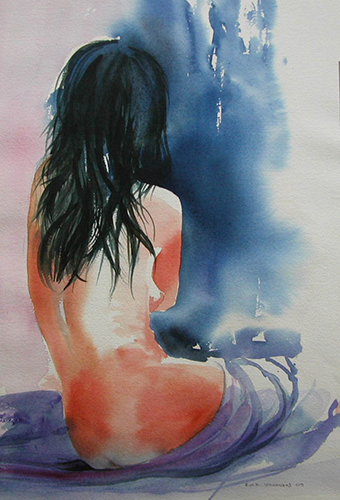 Watercolour nude 2 500x700mm framed